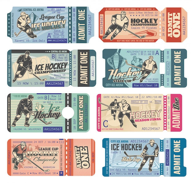Ice hockey tickets, sport game tournament cup