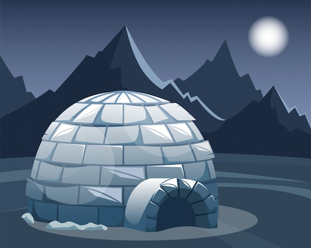 Ice igloo in the field against the mountains. winter northern landscape in the night. the life of the inuit.