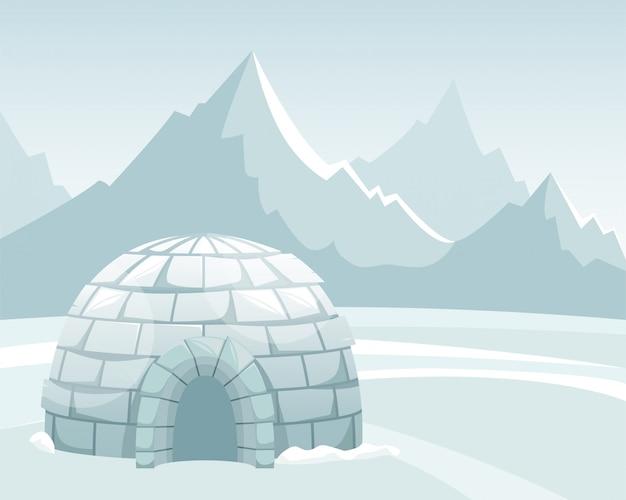 山に対するフィールドで氷イグルー。冬の北の風景。イヌイットの人生。