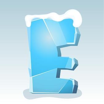 상단에 눈이 있는 얼음 문자 e, 벡터 글꼴