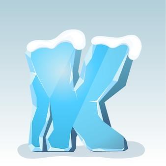 상단에 눈이 있는 얼음 편지 k, 벡터 글꼴