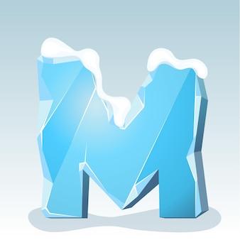 상단에 눈이 있는 얼음 문자 m, 벡터 글꼴