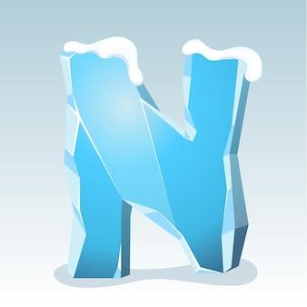 상단에 눈이 있는 얼음 문자 n, 벡터 글꼴