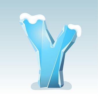 상단에 눈이 있는 얼음 문자 y, 벡터 글꼴