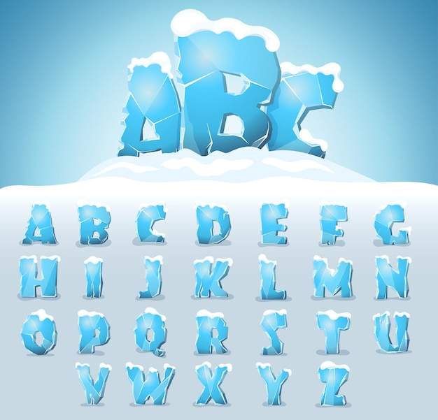 상단에 눈이 있는 얼음 글자, 벡터 글꼴