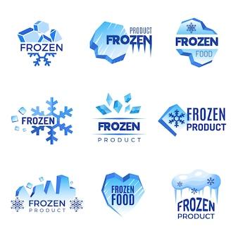氷のロゴ。冷凍製品の抽象的なバッジの寒さと氷のベクトル記号。製品冷凍イラストの氷冷クリスタルバッジ