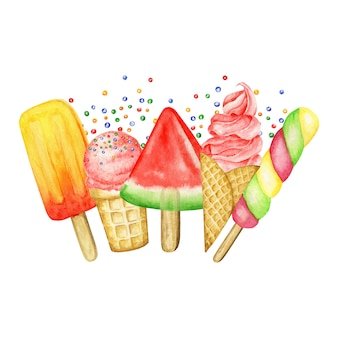 Ice lollys, ice-cream scoops decorated with chocolate in waffle cone composition frame. watercolor illustration isolated on white background. red pink strawberry, raspberry fruit ice cream balls
