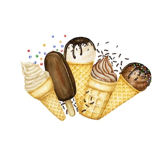 Ice lollys, ice-cream scoops decorated with chocolate in waffle cone logo composition frame. watercolor illustration isolated on white background. vanilla, chocolate ice cream balls