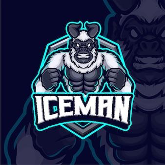 Ice man mascot esport logo design