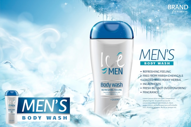 Ice men's body wash ads with frozen background
