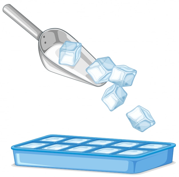 Ice in metal spoon and tray on white
