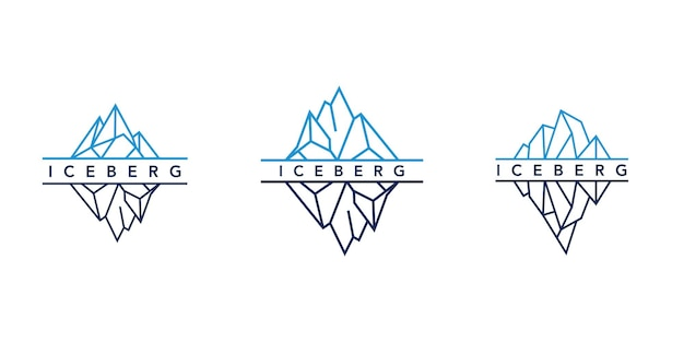 Ice mountain or iceberg logo design with simple line art style