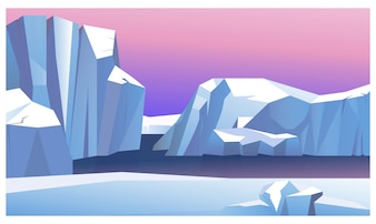 Ice mountain in water illustration