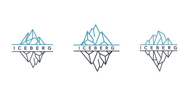 Дизайн логотипа ледяной горы или айсберга с простым стилем линии искусства
