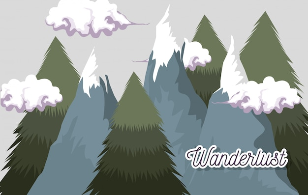 Ice mountains with clouds and pine trees landscape