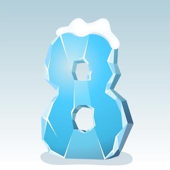 상단에 눈이 있는 얼음 번호 8, 벡터 글꼴