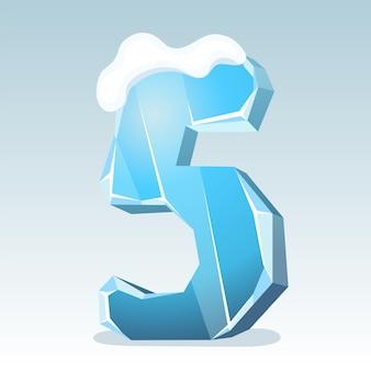 상단에 눈이 있는 얼음 번호 5, 벡터 글꼴