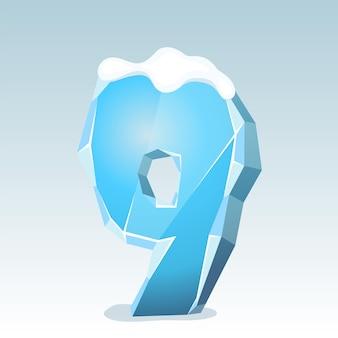 상단에 눈이 있는 얼음 번호 9, 벡터 글꼴