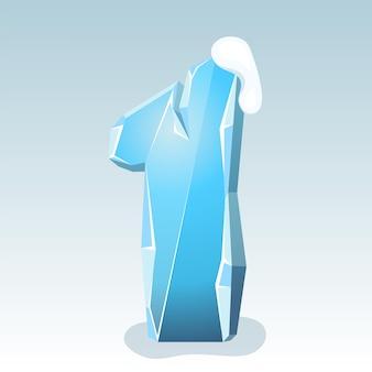 상단에 눈이 있는 얼음 번호 1, 벡터 글꼴