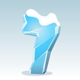 상단에 눈이 있는 얼음 번호 7, 벡터 글꼴