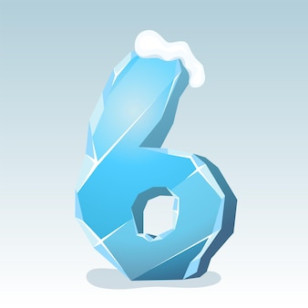 상단에 눈이 있는 얼음 번호 6, 벡터 글꼴