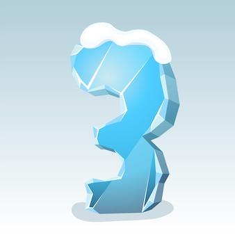 상단에 눈이 있는 얼음 번호 3, 벡터 글꼴