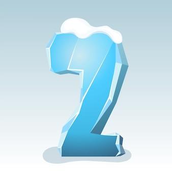상단에 눈이 있는 얼음 번호 2, 벡터 글꼴