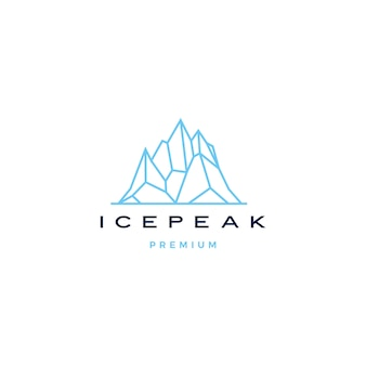 Ice peak mount stone mountain adventure icepeak geometric logo line art outline