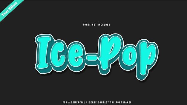 Ice pop text effect design vector. editable 3d text
