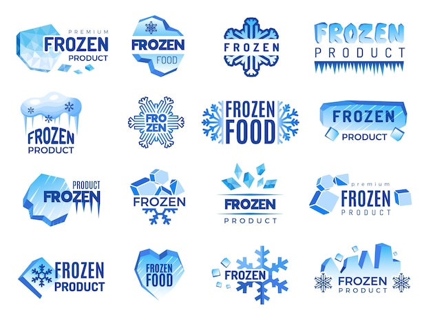 Ice product logo. frozen food business identity blue  cold graphic elements. snowflake product, frozen temperature badge for refrigerator illustration