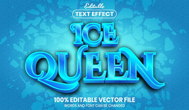 Ice queen text, font style editable text effect