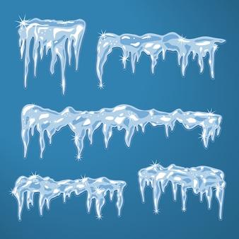 Ледяные щиты с сосульками и снежинками векторная иллюстрация