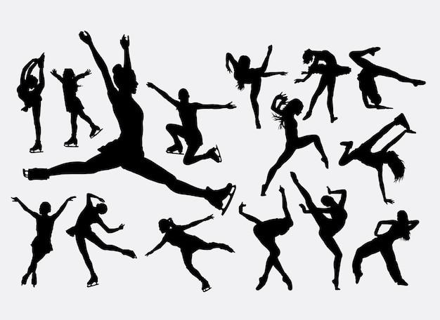 Катание на коньках и силуэт танцора