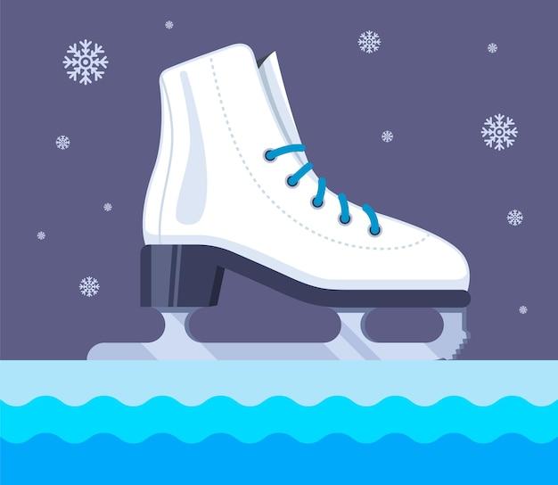 夜のアイススケート。平らなイラスト。