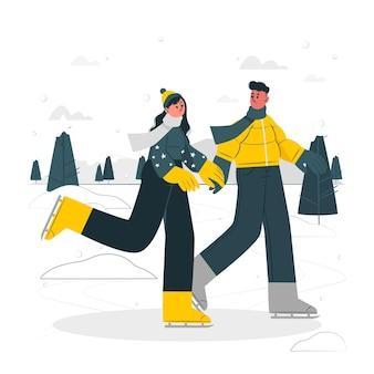 Иллюстрация концепции катания на коньках