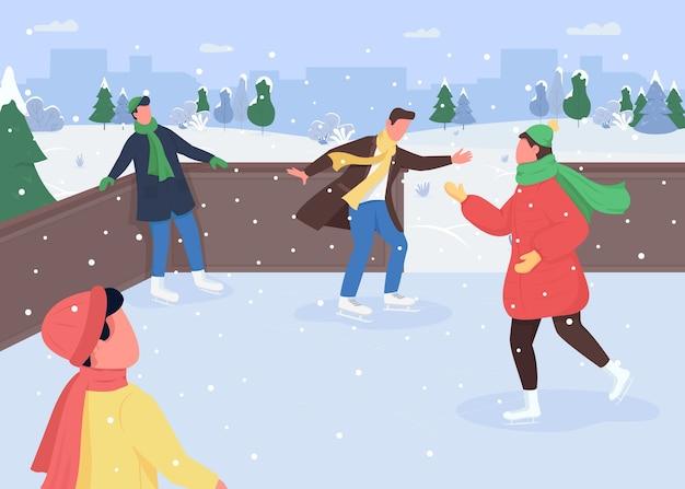 Каток плоский цвет. идеи зимних развлечений. снежный спорт. ледовый каток. рождество на открытом воздухе. спортивные 2d-персонажи мультфильмов на фоне заснеженного леса