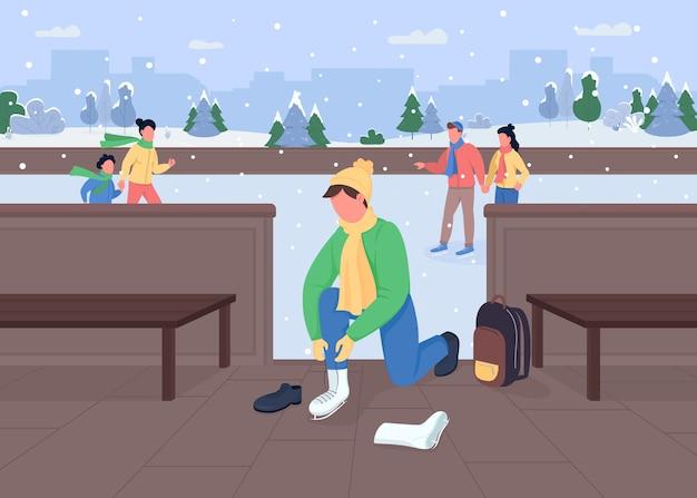 Каток плоский цвет. виды зимних развлечений. замерзший каток. спортсмен меняет обувь. небольшой снегопад. спортивные 2d-персонажи мультфильмов на фоне снежного города