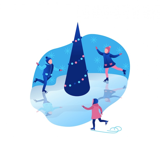 Ice skating isometric kids