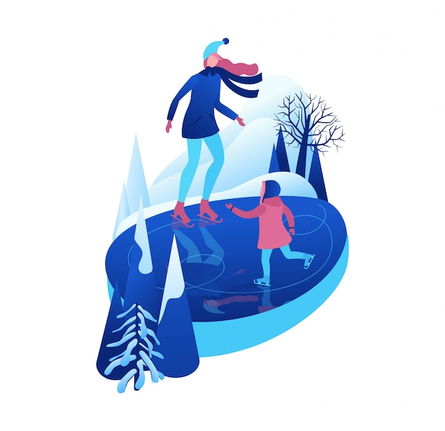 Ice skating isometric people