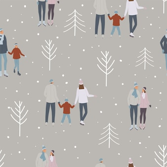 Ice skating people pattern