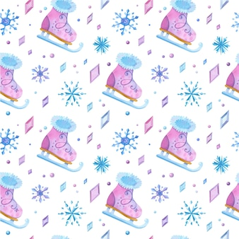 Ice skating shoes hand drawn seamless pattern. girlish skates, icy crystals and snowflakes color drawing.