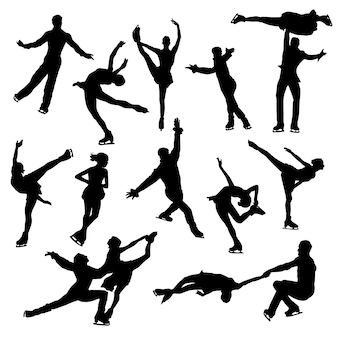 Ice skating sport beauty clipart symbol silhouette vector