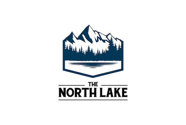 Ледяная снежная гора с сосной, кедром, елью, хвойным, вечнозеленым, пихтовым, лиственничным, болиголовым, кипарисовым, лесом и озером реки крик для лагеря, приключение, дизайн логотипа, вектор