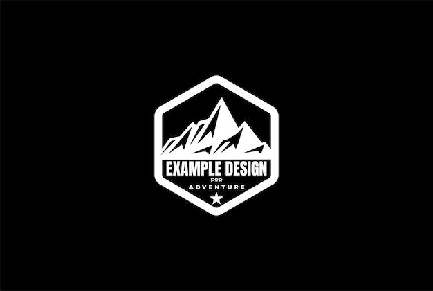 アウトドアアドベンチャーのロゴデザインベクトルの氷雪または氷山山の丘
