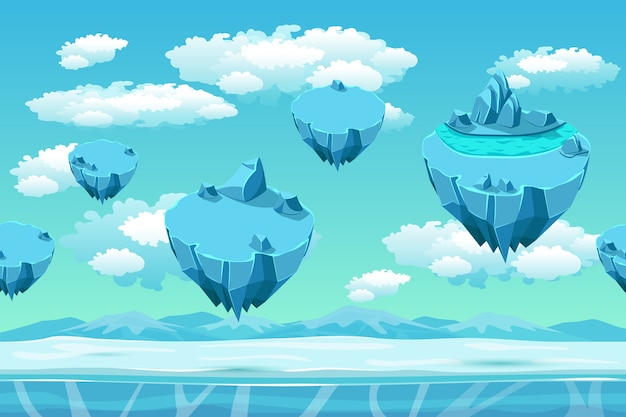 Ice and snow with the ice islands. seamless game landscape. cartoon background for games. snow panorama, game user interface, cold arctic, environment game, flying island, vector illustration