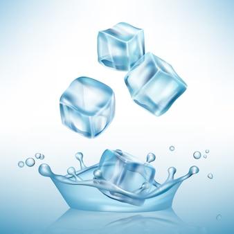 Лед брызгает куб. заморозить лужи воды и кристально чистый кубик льда вектор реалистичный фон