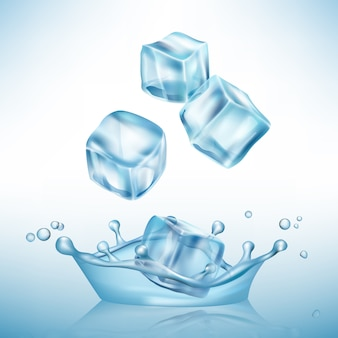 Ice splashes cube. freeze water puddles and crystal clear ice cube vector realistic background