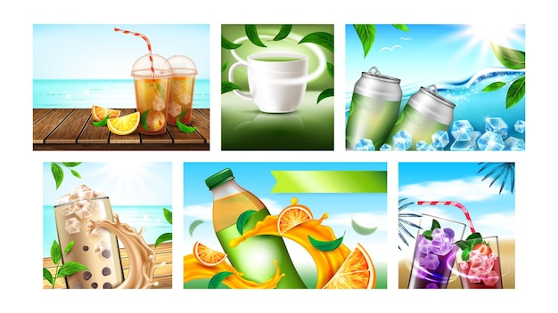 아이스 티 크리에이 티브 프로모션 포스터 벡터를 설정합니다. 오렌지와 레몬, 딸기와 블루베리, 녹색 및 과일 차 빈 패키지 광고 배너. 스타일 컬러 컨셉 템플릿 일러스트