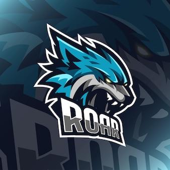 Ice tiger head logo esport  illustration for teammate template