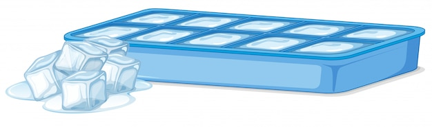 Vassoio di ghiaccio con ghiaccio e cubetti di ghiaccio di fusione su bianco